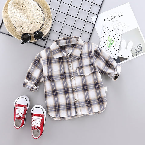 Plaid Shirts Trendy Hot Sale Long Sleeve Buttons Pocket  Shirt for boys
