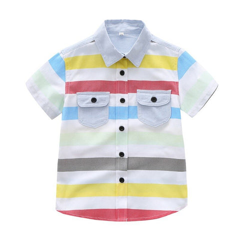 Kids Boys Cute Striped Cotton Short Sleeve Turn-down Collar Buttoned Shirt 1-5Yrs