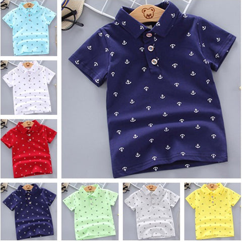 2020 Summer Baby Boys Polo Shirt Short Sleeve Cotton Print 12M-5Y