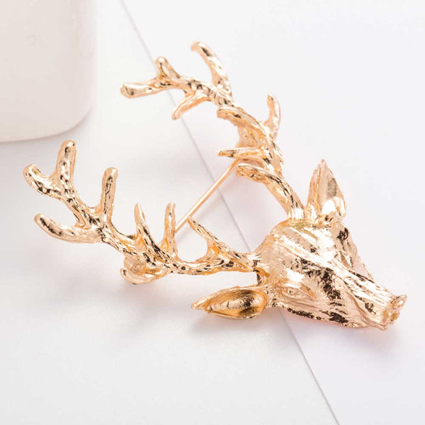 Jewellery Unisex Gold Plated Deer Antlers Head Brooches