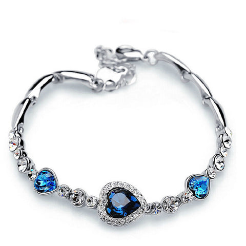 Jewellery Fashion Jewelry Silver Crystal Heart Charm Bracelets & Bangles Pulseiras Blue Rhinestone Bracelets For Women