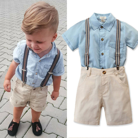Gentleman kids Outfits Short Sleeve Button Shirt with matching Short Pants