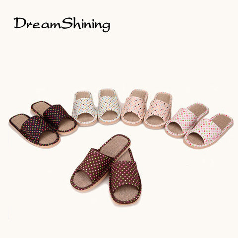 Slipper DreamShining Four Seasons  Lovely Slipper Women  Home Non-slip Polka Dot Slippers Ladies Indoor Shoes