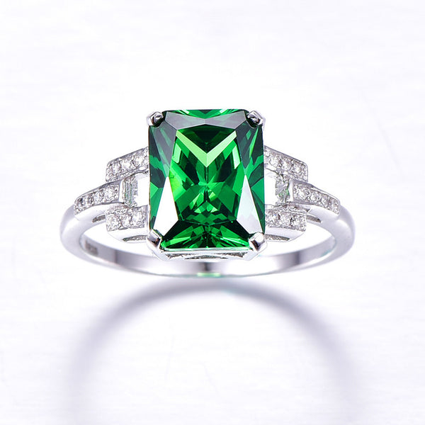 Jewellery Ladies Emerald Cut  Fine Sterling Silver Ring