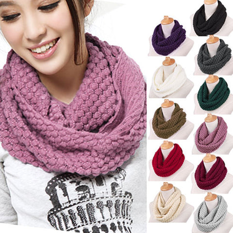 Scarf New Arrival Fashion Women Winter Warm Knitted Neck Circle Wool Cowl Snood Long Scarf Shawl Solid Color Luxury Brand New