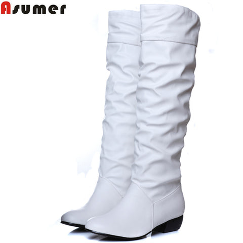 Women's Asumer Plus Size Mid-Calf Flat Heel Boots
