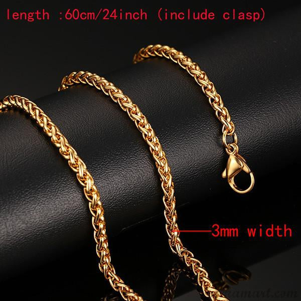Men's Stainless Steel 24inch Gold Color Necklace
