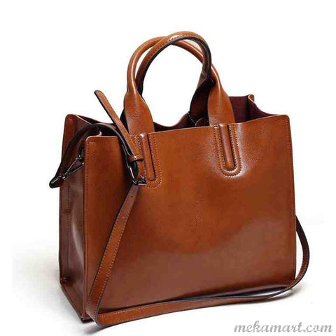 Women's Casual Spanish Brand PU Leather Trunk Tote Handbag