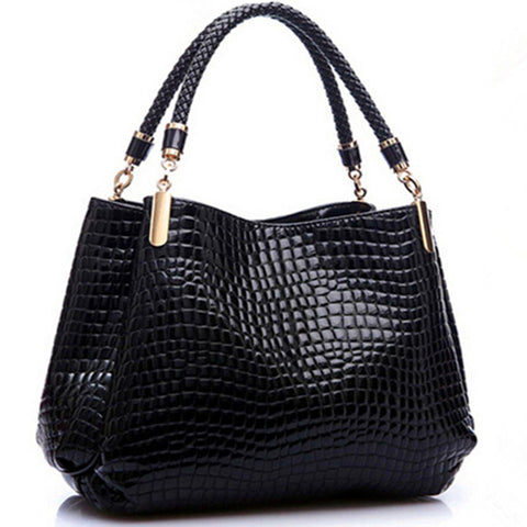 Women's New Designer Alligator Leather Pattern Shoulder Tote Bag