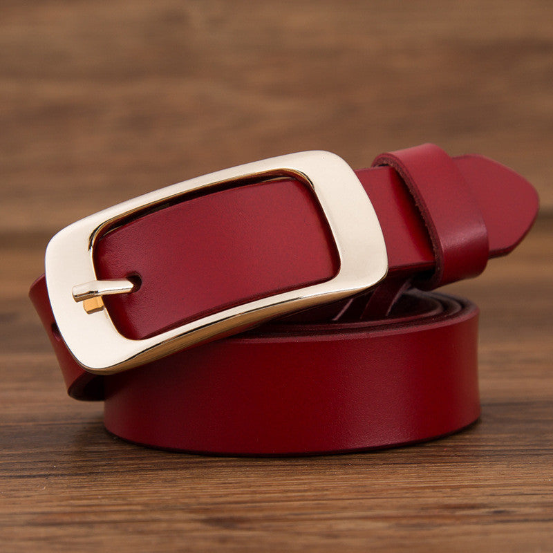 Gold Color Metal Buckle - Red Genuine Leather Belt