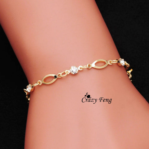 Jewellery Wholesale  Gold Plated Crystal friendship bracelets bracelets for women gift  Free Shipping