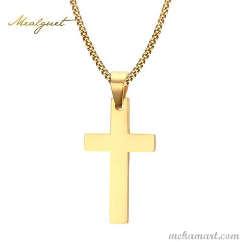 Meaeguet Cross Pendants Stainless Steel Gold Plated Men's Necklaces