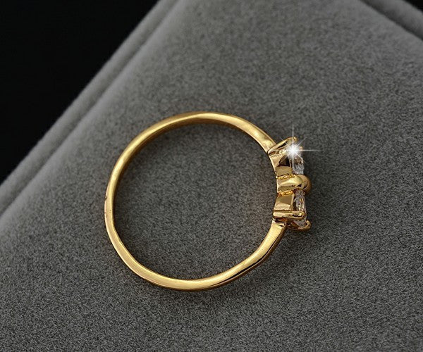 Jewellery Ring Crystal Gold Color Finger Bow Ring