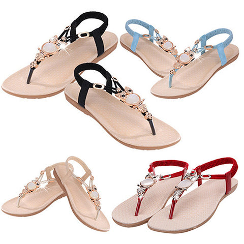 Sandal Women's Fashion Summer Roman Style Rhinestone Flat Flip Flops Sandals Shoes