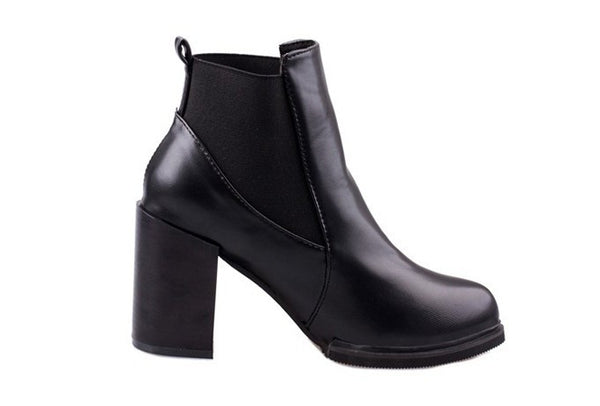 Ladies Solid Leather Ankle High Heel Martin Boots