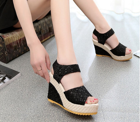 Women's Peep Toe High-heeled Wedge Sandals