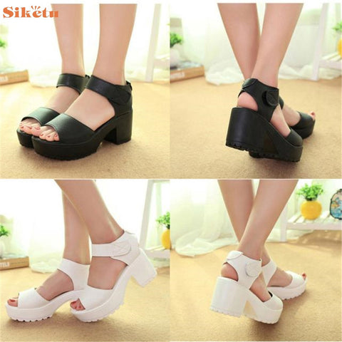 Sandal High quality Women Open Toe Peep Toe Platform High Heel Gladiator Sandals Chunky Shoes