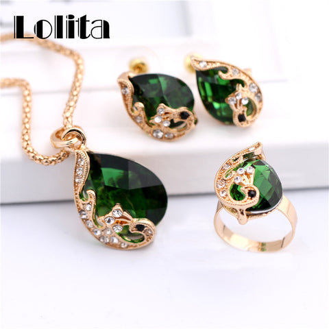 Ladies New Fashion Gold Color Jewelry Sets 3 in 1