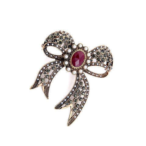 Jewelry Big Bowknot Pins for Women Statement Fashion Hollowed Simulated Pearl Rhinestone Vintage Brooch Jewelry