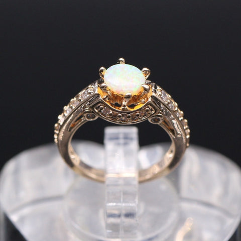Jewellery Beautiful Cute Surprised Jewelry white/orange Fire Opal Cubic Zirconia 925 Silver Ring Gold Plated 2colors