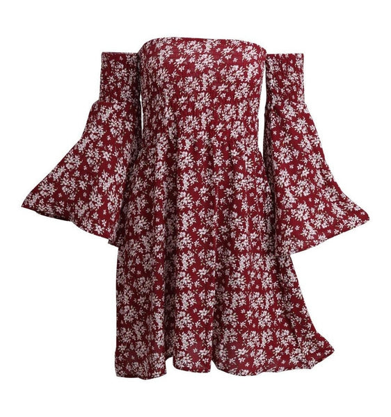 Bohemia Floral Print Flare Sleeve Off Shoulder Short Dress