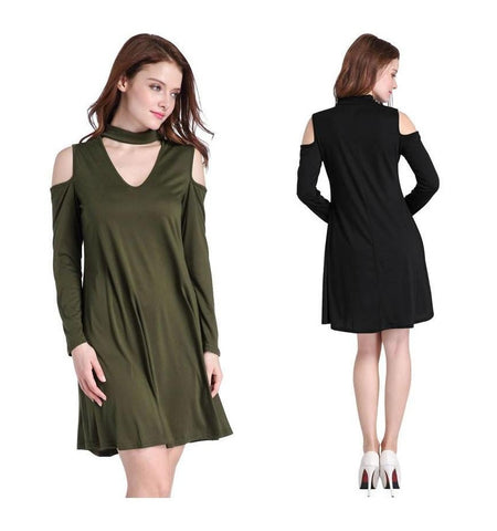 Elegant Long Sleeve Casual V Neck  Dress