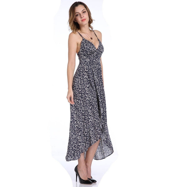 Bohemian Floral Asymmetrical Backless Dress
