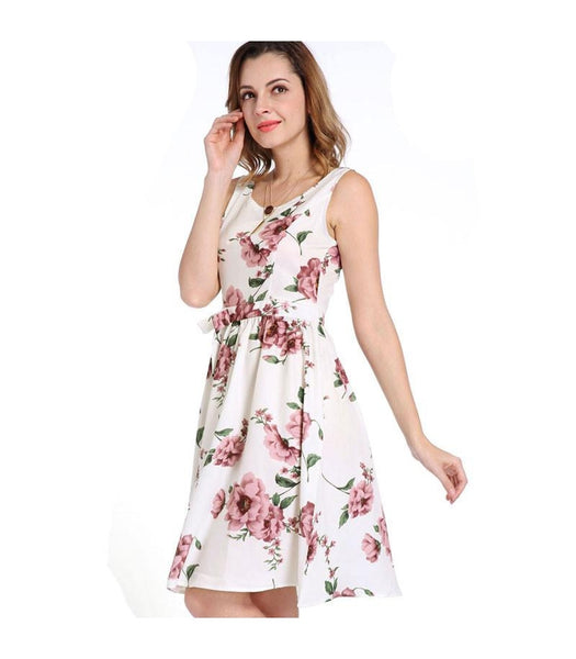 Floral Print A Line Flare Sleeveless Short Dress