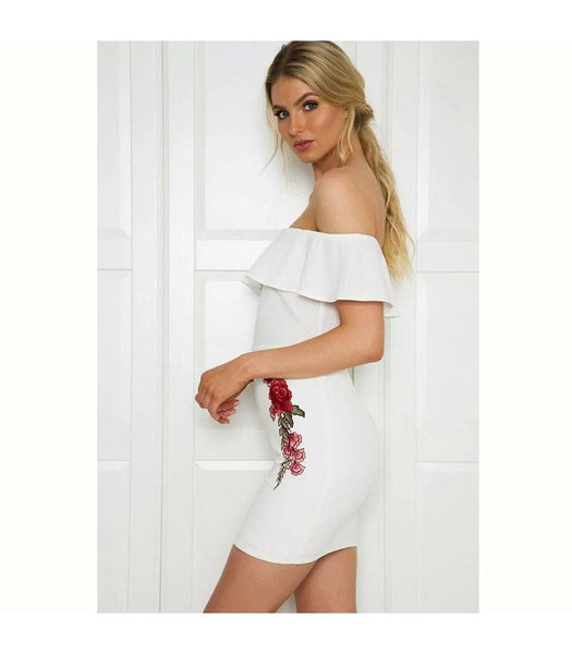 Sexy Off Shoulder Ruffles Bodycon Dresses
