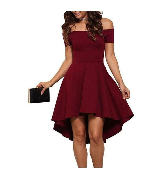 Elegant Off Shoulder A Line Asymmetry Dress Solid Colors