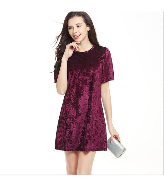 Vintage Velvet Causal Women Short Dress