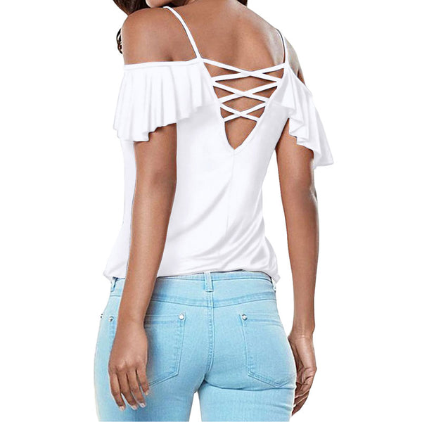 Sexy Cold Shoulder Strapless Bodycon T Shirts