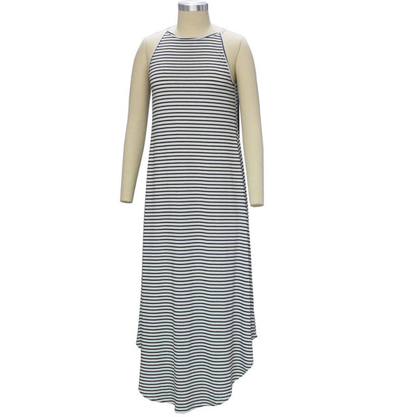Stripe Tank Irregular Hem Casual Maxi Dress