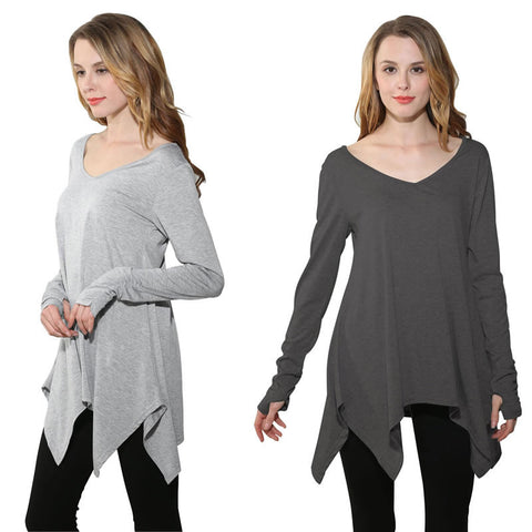 V-Neck Irregular Hem T-Shirt Long Sleeves