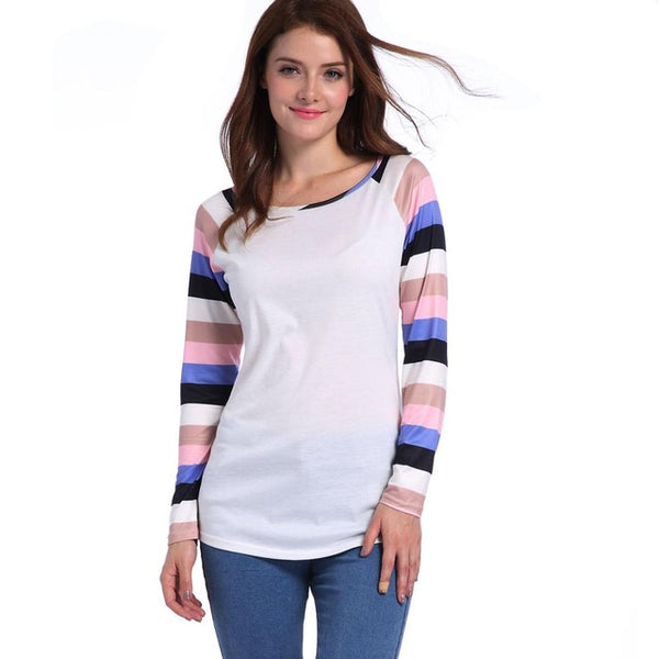 Striped Patchwork O-Neck Long Sleeve T-Shirts 2017 New