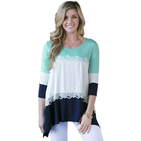 Cotton 3-Colors Lace Patchwork  3/4 Sleeve T-Shirts