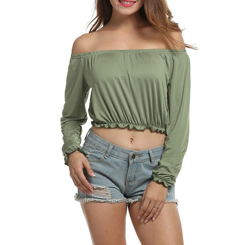 Off Shoulder Ruffle Elastic Slash Neck Solid Crop Tops Tee