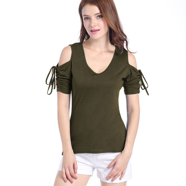 Hollow Out Bodycon T-Shirt Tie Sleevs 2017 New