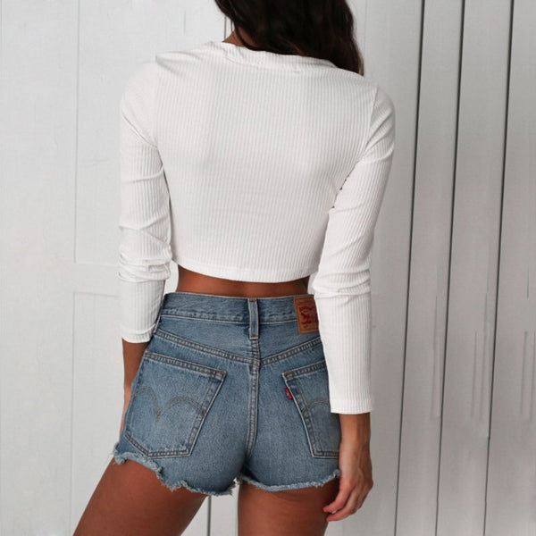 Lace Up Criss Cross  Knitted Crop Top Sexy Tee