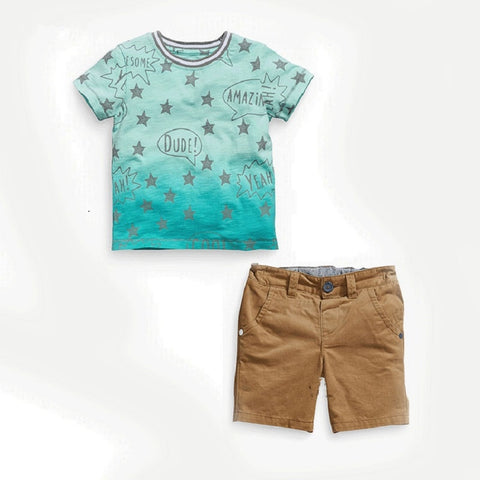 Kids Boys Fashion Summer Wear Top Tee and bottom Short Clothing Sets 100% Cotton
