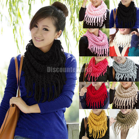 Ladies Warm Knit Wool Snood Scarf