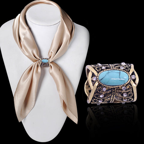 Jewellery Bohemia Vintage Bronze Silver Plated Turquoise Brooches