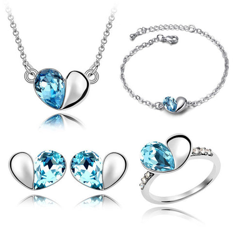 Ladies Cute Heart Pendants Crystal Silver Jewelry Sets