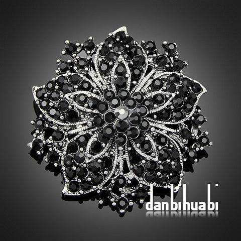 Jewellery 7 colors'  Vintage Style Black Rhinestone Crystal Diamante Party Brooch pins for women  Ac036