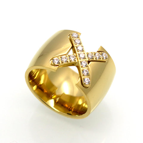 Ring New Arrival 18K Gold Plated Ring Bijoux 14mm Width Big Pave Setting CZ Cross X Ring For Women