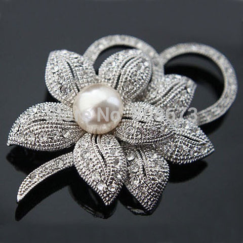 Jewellery Crystals Imitation Pearl Big Bow Brooches