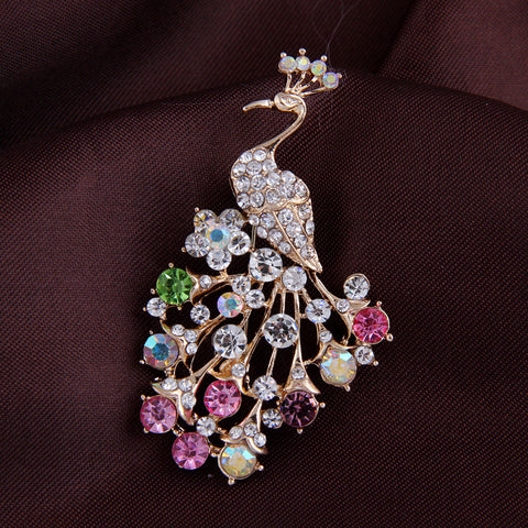 Jewellery Peacock rhinestone brooches for women fashion rhinestone brooch animal for wedding pins and brooches for women