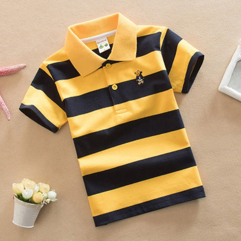 Boys Striped Summer Polo Shirts Cotton Short Sleeve Turn-down Collar Buttoned Sports Tee