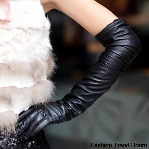 Ladies'New Faux Leather Long Outdoor Warm Gloves