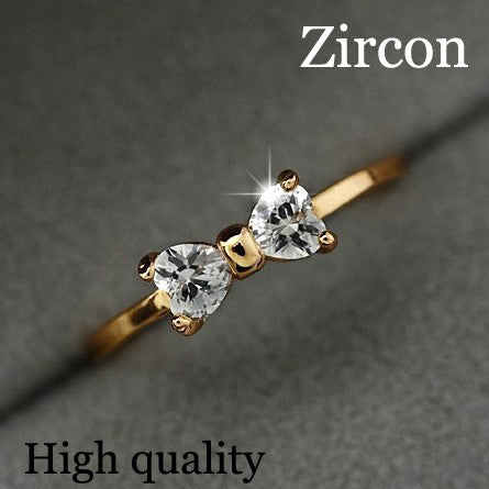 17KM Austria Crystal Gold Color Finger Bow Ring